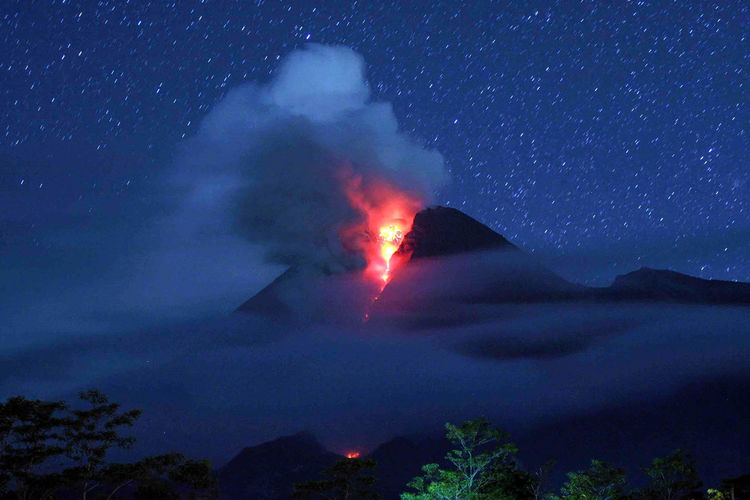 Mount Merapi eruption seen from Deles Village, Klaten, Central Java, Indonesia on November 02, 2010. Volcano Mount Today's Hot Look Nature