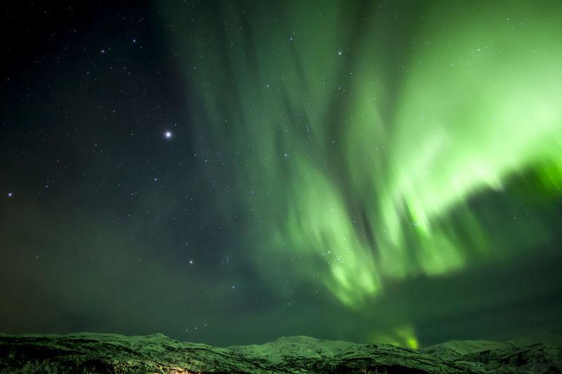 Aurora polaris landscape against sky at night