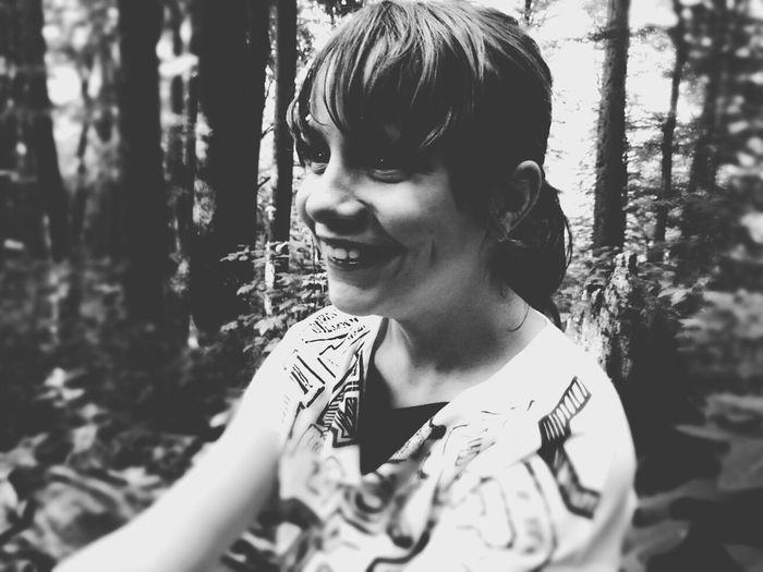 Monochrome Black And White Smile Portrait