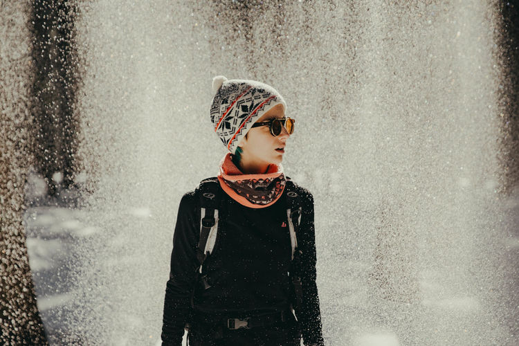 The girl and the snowing Child Childhood One Person Looking Cute Girls Innocence Females Day Warm Clothing Outdoors Winter Wintertime Winter Wonderland Winter Trees Snow Snowing Snowcapped Mountain Glasses Sunglasses Mountain Sunset Light Women Looking Away