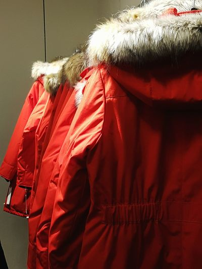 Red Hanging No People Close-up Indoors  Red Coats Red Parkas Row Of Hanging Red Parkas Faux Fur Collar Hood Popular Eyeem Collection Eyeem Marketplace Mobile Photography The Week Of Eyeem Check This Out! EyeEm Gallery EyeEm Best Shots Backgrounds Eye4photography  Popular