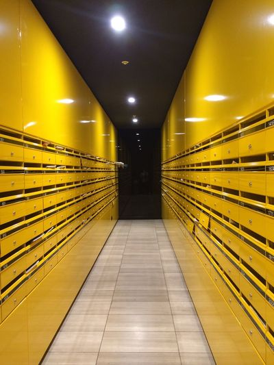 Mailbox Illuminated Lighting Equipment Architecture The Way Forward Direction Yellow Indoors  No People