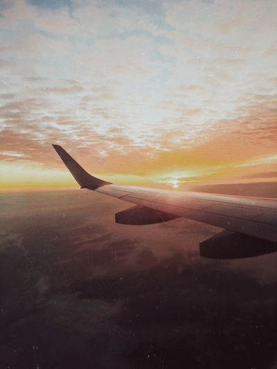 Airplane Transportation Flying Mode Of Transport Aircraft Wing Travel Nature Sunset Sky Airplane Wing Beauty In Nature Air Vehicle Scenics Aerial View Landscape No People Outdoors Cloud - Sky Day