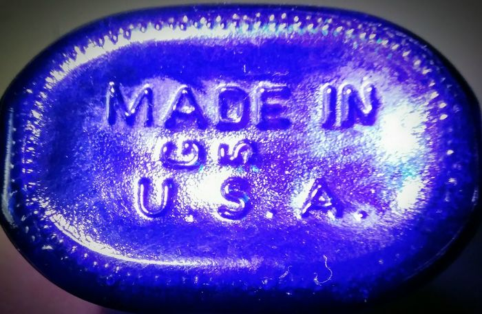 Old Milk of Magnesia Bottle Colors Made In USA Blue Text Blue No People Close-up Indoors  Illuminated