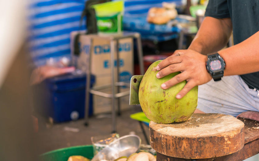 coconut Coconut Close-up Day Food Food And Drink Fruit Healthy Eating Human Hand Men Real People
