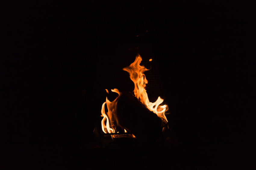 Bonfire in the night. Black Background Bonfire Burning Campfire Close-up Copy Space Flame Heat - Temperature Night No People Nusshain 06 17 Outdoors Pareidolie Pareidolia Fire Ghost
