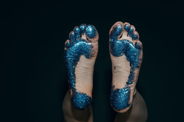 Feet Foot Legs Black Background Multi Colored Studio Shot Blue Point Of View Low Section Fun Paint Sequin Body Paint Glitter Glittering Human Leg Illusion
