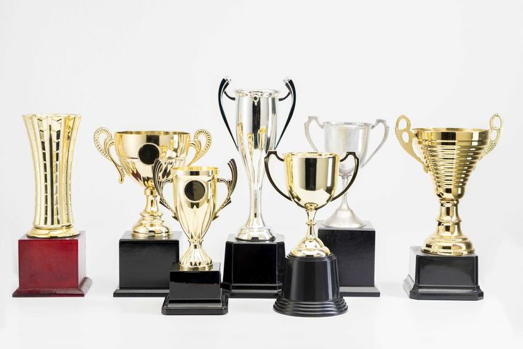 Variety of Trophy Cup on white background AWARD Trophy Still Life Achievement Indoors  Success No People Shiny White Background Studio Shot Winning Variation Side By Side Choice Competition Group Of Objects Large Group Of Objects Gold Colored In A Row Arrangement Silver Colored