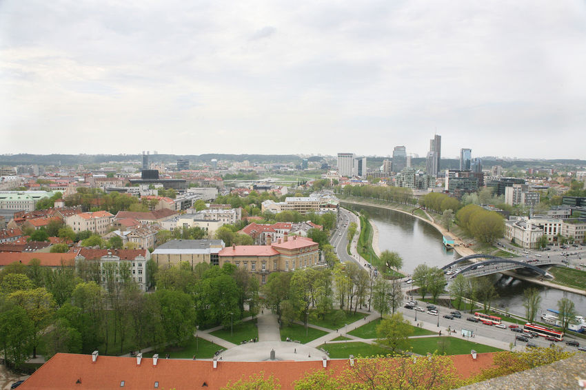 Architecture Bridge Building Exterior Built Structure City Cityscape Connection Day High Angle View Nature No People Outdoors River Sky Spring Tree Vilnius Vilnius, Lithuania Water