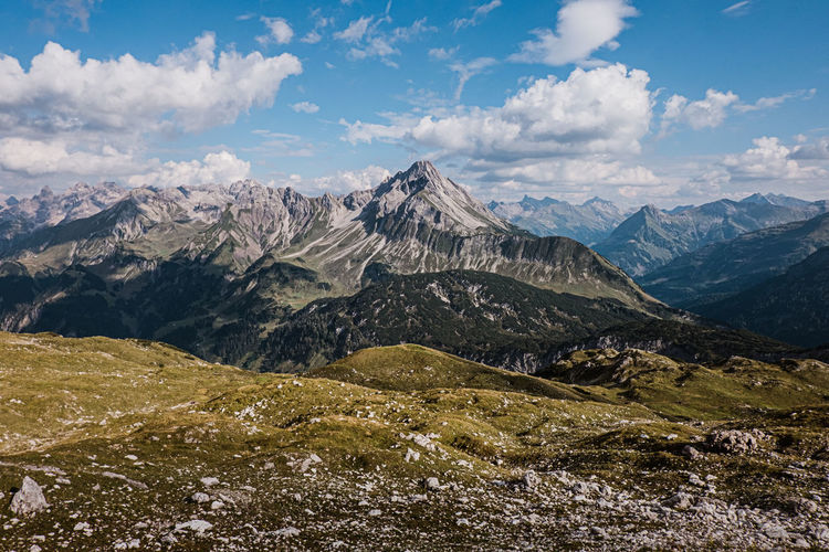 Scenic view of mountains against sky in kleinwalsertal.