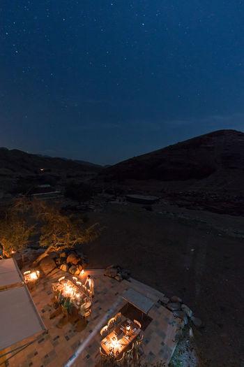 Night view of Feynan ecolodge ASIA Ecolodge Feynan Jordan Landmark Middle East Night Safety Sky Touristis