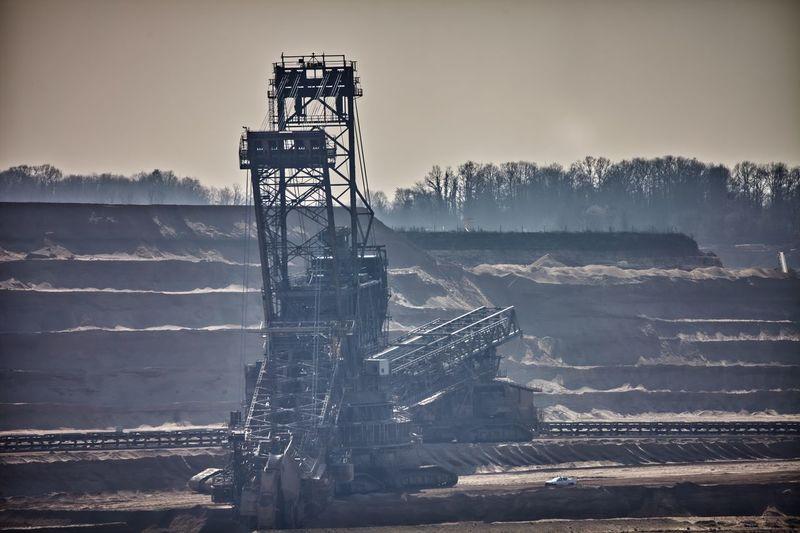Metallic structure in coal mining against sky
