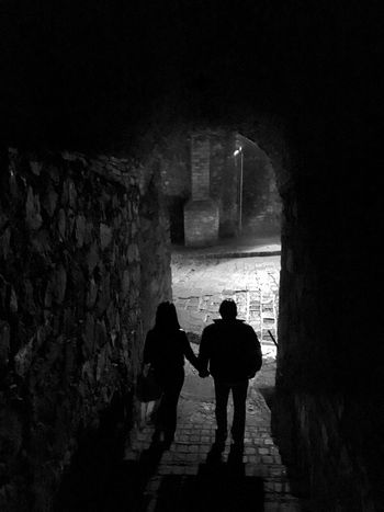 Two People Real People Silhouette Night Built Structure Togetherness Tunnel Love Architecture Lifestyles Walking Illuminated