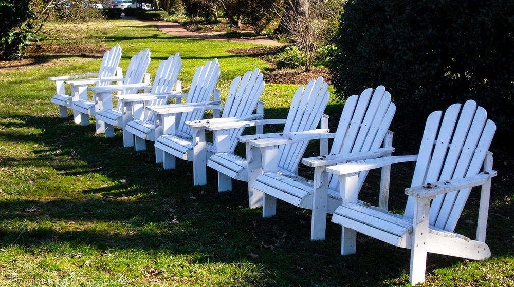 Seven Adirondack chairs Absence Adirondack Chairs Arrangement Chairs And Tables Day Empty Grass Grassy Green Color In A Row Landscape Large Group Of Objects Nature No People Outdoors Park Park - Man Made Space Seat Tranquil Scene Tranquility Wood - Material Wooden