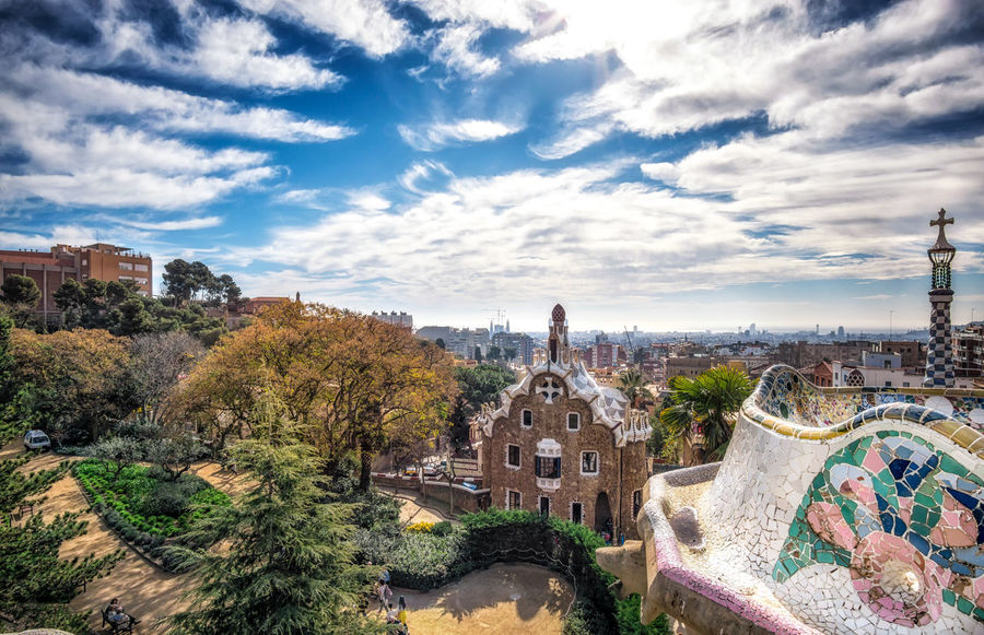 Park Guell (also called Gaudi Park) central terrace view of barcelona and the guard house below. Barcelona, Spain. Architecture Barcelona City Cityscape European  Famous Gaudi Gaudi Park Park Guell SPAIN Spanish Terrace Travel Architectural Detail Design Europe Guard House Guell Park Landmark Park Park - Man Made Space Serpentine Pavillion Tourism