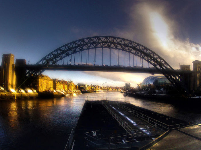 Over the Tyne Newcastle Upon Tyne River Tyne, Tyne Bridge, Architecture Bridge - Man Made Structure Building Exterior Built Structure City Cityscape Connection Illuminated Nature Night No People Outdoors River Sky Transportation Travel Destinations Water