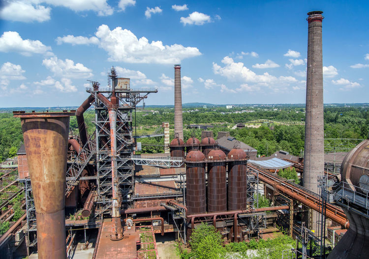 Architecture Cloud - Sky Day Duisburg Factory Furnace History Industry Nature No People Outdoors Rusty Sky Steel Mill Tree