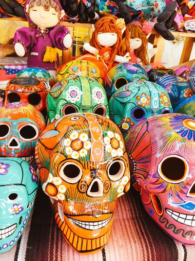 Mexican Madness Puebla Artisian Cooking Mexico Puebla Colorful Skull Dia De Los Muertos Skulls Skull Day Of The Dead Mask - Disguise Art And Craft Retail  Souvenir For Sale Ornate Multi Colored No People Disguise