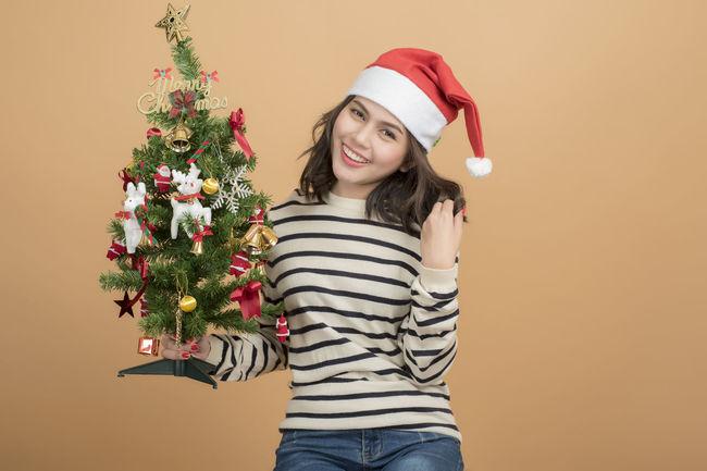 Beautiful Cheerful Cristmas Cute Fun Gift Girl Happy One Person Santa Santy  Shopping Snow
