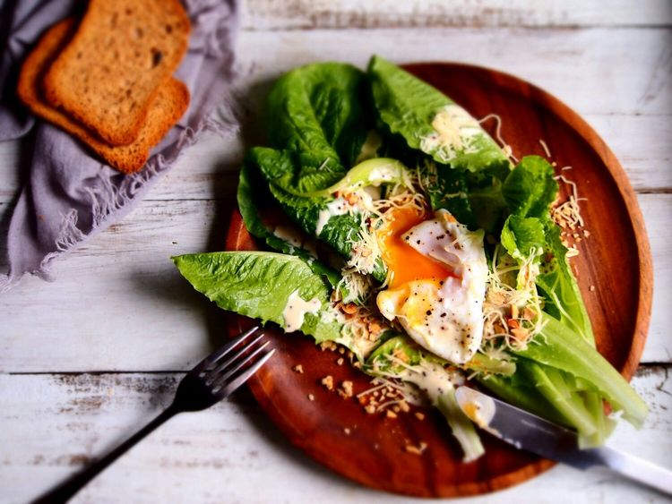 Showcase: November romaine lettuce with poached egg Caesarsalad On The Table Foodgasm Food Porn Taking Photos Enjoying Life Foodie Breakfast Delicious