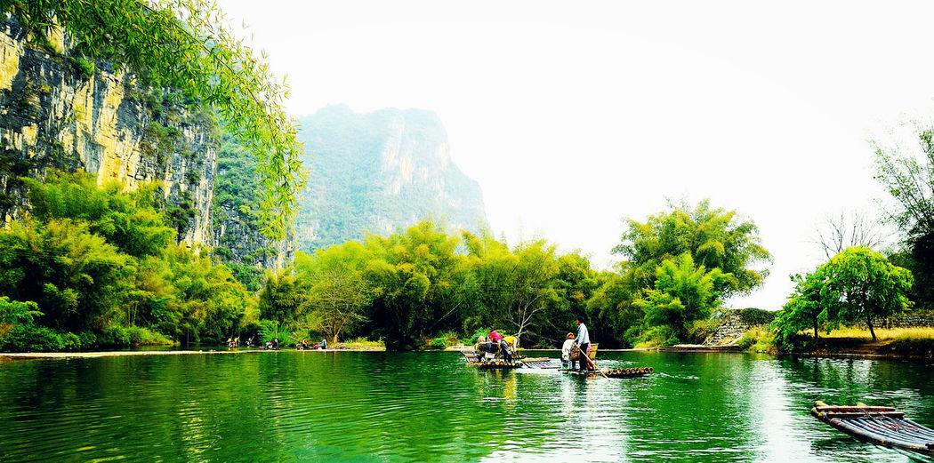 People in lake against trees