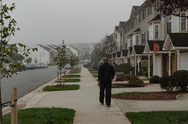 Rear view of man walking on road along houses