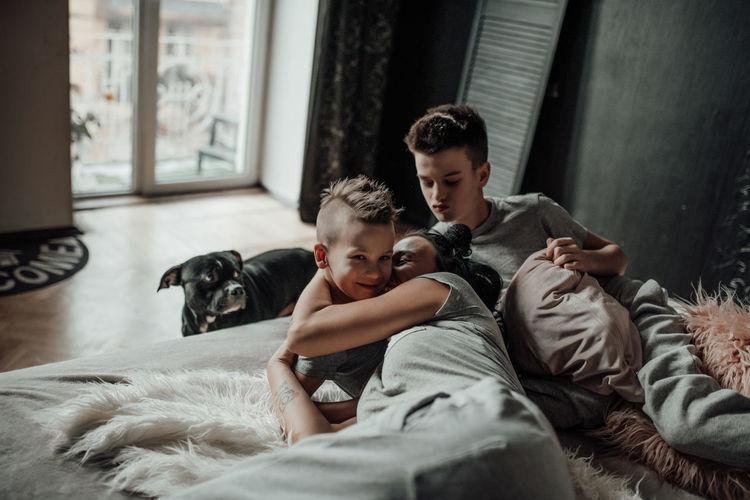 Boy and dog at home
