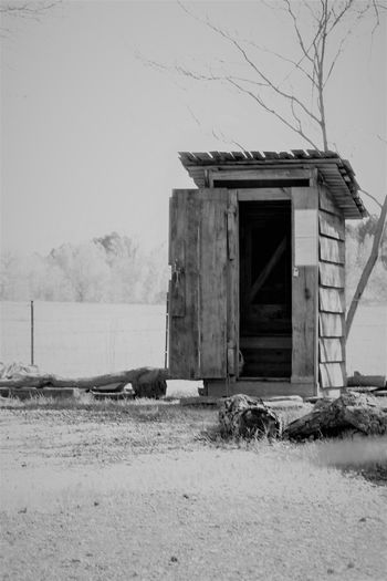 Black And White Blackandwhite Building Exterior Built Structure Day Field No People Outdoors Outhouse