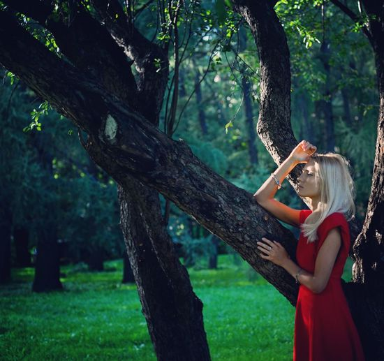 Woman By Tree In Forest