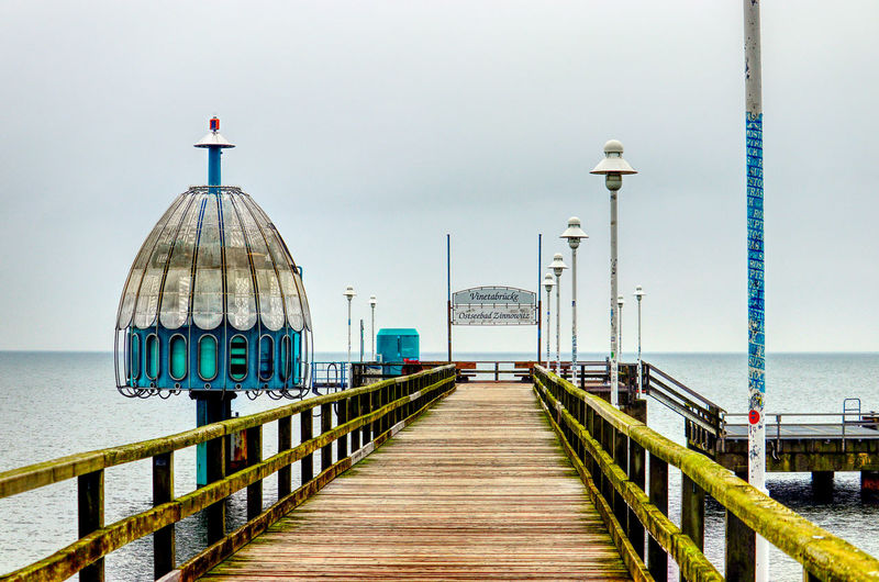 EyeEm Best Shots Usedom, Germany Vinetabrücke Architecture Beach Beauty In Nature Built Structure Clear Sky Day Germany Gondel Harbor Horizon Over Water Jetty Nature Nautical Vessel No People Outdoors Pier Railing Sea Sky Usedom Water Wood Paneling