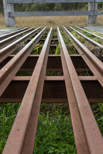 Low angle view of stock cattle grid Agriculture Australia Australian Country Grid Low Angle View Road Rural Cattle Cattle Stop Cow Catcher Day Grass Guard Nature Outdoors Steel Stock Stock Gap Texas Gate Vehicle Pass