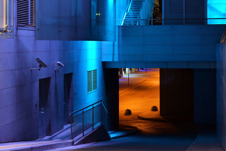 Passway Built Structure No People City Entrance Illuminated Blue Building Exterior Modern Outdoors Urban Color Night Moscow Russia Eastern Europe Europe RU643_MOSCOW_AK RU643_RUSSIA_AK