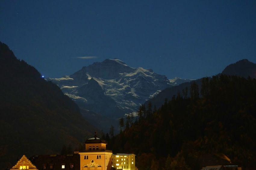 Interlaken Jungfrau Landscape Midnight Mountain Night Sky Switzeland