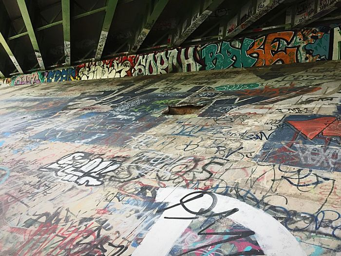 broken Graffiti Street Art Creativity Art And Craft Multi Colored Built Structure Architecture No People Day Skateboard Park Outdoors