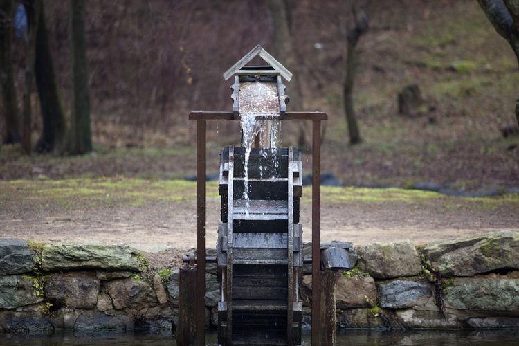 Water splashing on water wheel