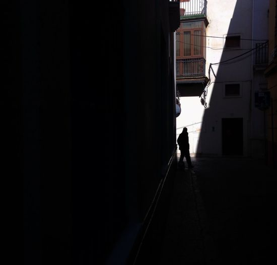 Silhouette of man walking on building
