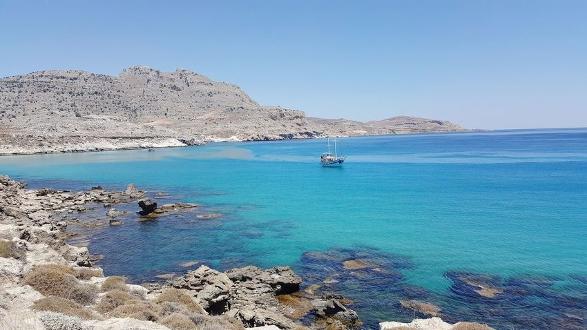 Sea Beach Blue Water Rock - Object Sunny Travel Destinations Clear Sky Vacations Horizon Over Water Sailboat Beauty In Nature Landscape Summer Nature Sky Rhodes Greece GREECE ♥♥ Seaside Seascape Sea View Sailing Yacht Harbor Nautical Vessel