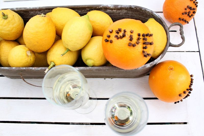 Champagne Celebration Love Word Citrus  Top View Orange Cloves Table Wooden Decoration Outdoors Lemons Christmas Garden