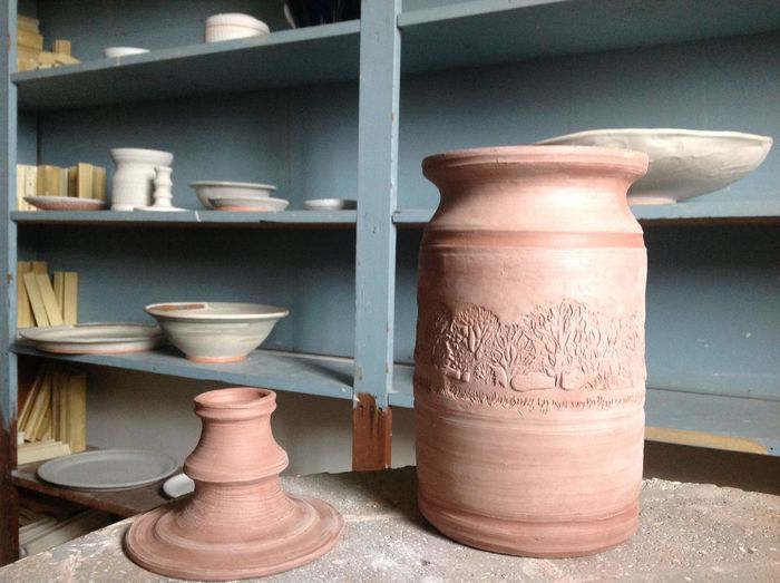 This gives me hours of pleasure. Anyone can do it if they want to. Clay Form. Close-up I Made It Myself Indoors  Relaxing Hobby Requires A Kiln Requires A Wheel Trees Are In Design Around Middle Wil Become A Lamp