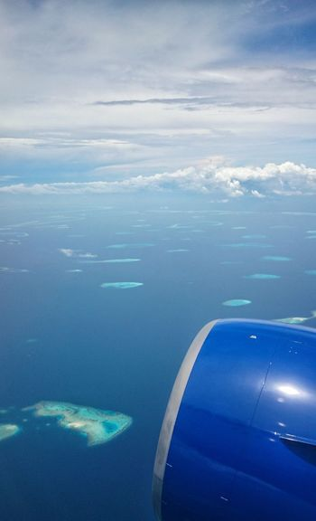Aircraft Engine Island Lagoon Relaxing Air Ocean Maldives Water Aerial View Airplane Sea Blue Cloud - Sky Travel Flying Nature No People Vacations Beauty In Nature Sky Day Outdoors