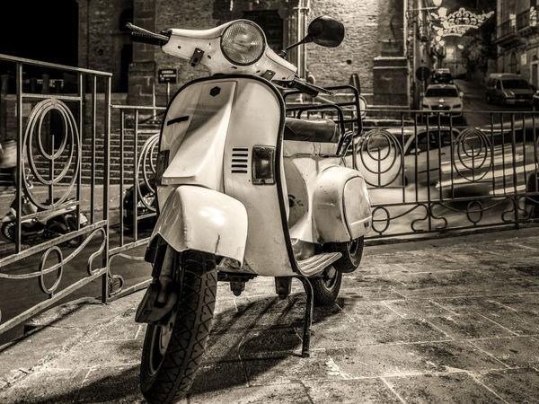 Classic Italia Motorcycle Old Fashioned Retro Scooter VESPA Bella Vespa Vintage Style Amusement Park Blackandwhite Built Structure Carousel Close-up Day Italy Monochrome No People Outdoors Piaggo Vespavintage Vintage