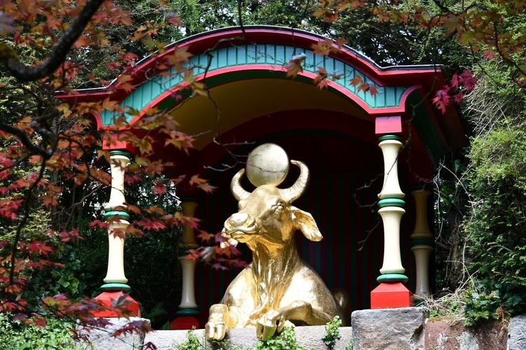 Golden Bull Tree Statue Sculpture Place Of Worship Architecture