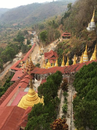 Myanmar Pagoda Pagoda Building View From Above High Angle View Flying High