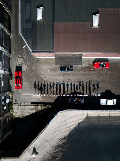 Architecture Building Exterior Built Structure Car City Day Drone  Dronephotography Flag Gang Group Hamburg Land Vehicle Mode Of Transport No People Outdoors Red Road Shadows Silhouette Transportation The Creative - 2018 EyeEm Awards