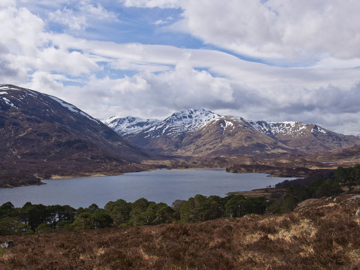 Glen Affric Loch Affric Scotland Walk Beauty In Nature Cloud - Sky Clouds And Sky Day Environment Lake Landscape Mountain Mountain Range Mountains Nature Outdoors Scenery Scenics - Nature Sky Snow Snow Covered Snowcapped Mountain Tranquil Scene Water Wilderness
