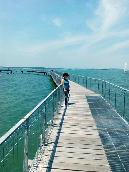 Architecture Built Structure Full Length Safety Outdoors One Person Standing Beauty Of The Sea Beutiful Place  Long Goodbye Long Bridge Bridge - Man Made Structure Woman