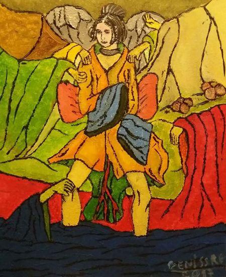 """Das Gemälde dem Acrylfarben """"Wenn es blutet"""" von Deniss Re Art Kunst Frau Contemporary Art Gemälde Conceptual Art Zeitgenössische Kunst Paint Acrylgemälde Konzeptkunst Japanische Kunst Bilde Konzept Acrylicpainting  Künstler"""