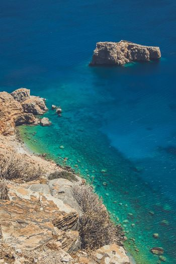 Blue Holiday Amorgos Greece Sea Water Beach Land Beauty In Nature Tranquility Tranquil Scene Nature Blue Sunlight