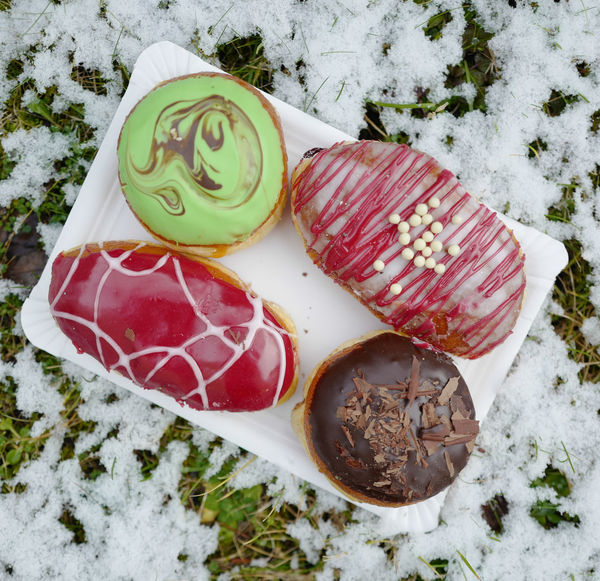 Donuts Fasching Rosenmontag Snow ❄ Sweet Treats  Close-up Cold Temperature Day Food Food And Drink Fresh Freshness German Tradition Healthy Eating High Angle View Indoors  Meat No People Ready-to-eat SLICE Snow Table Temptation Undulge Winter