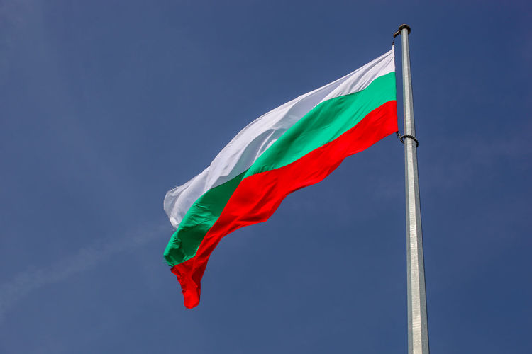 Bulgarian Flag High In Heaven Flag Wind Red Pole Environment Patriotism Nature Sky Blue Low Angle View Day Emotion No People Multi Colored Waving Pride Outdoors Striped Symbol National Icon Bulgaria Bułgaria Bulgarian Bulgaria❤️